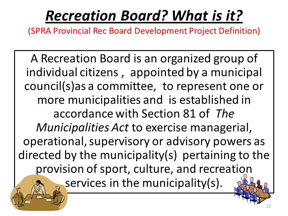 Recreation Board? What is it? (SPRA Provincial Rec Board Development Project Definition) A Recreation Board is an organized group of individual citize