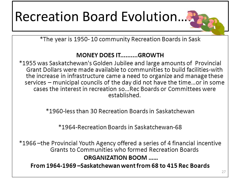 Recreation Board Evolution…. *The year is 1950- 10 community Recreation Boards in Sask MONEY DOES IT..........GROWTH *1955 was Saskatchewan's Golden J