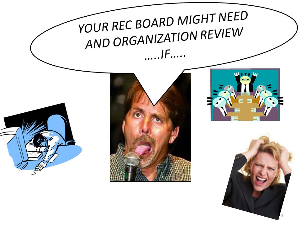 39 YOUR REC BOARD MIGHT NEED AND ORGANIZATION REVIEW …..IF…..
