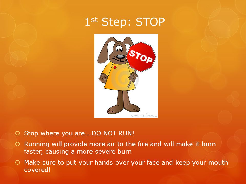 1 st Step: STOP  Stop where you are...DO NOT RUN.