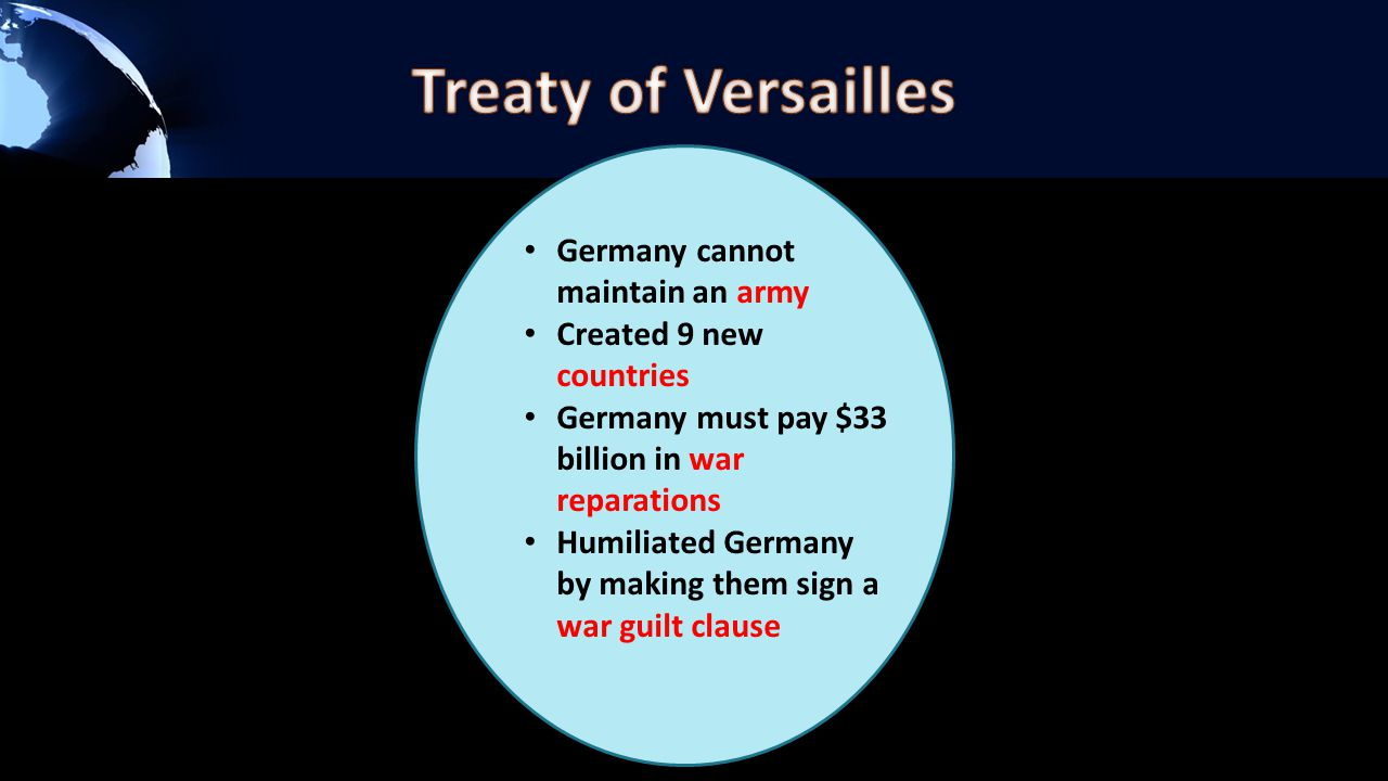 Germany cannot maintain an army Created 9 new countries Germany must pay $33 billion in war reparations Humiliated Germany by making them sign a war g