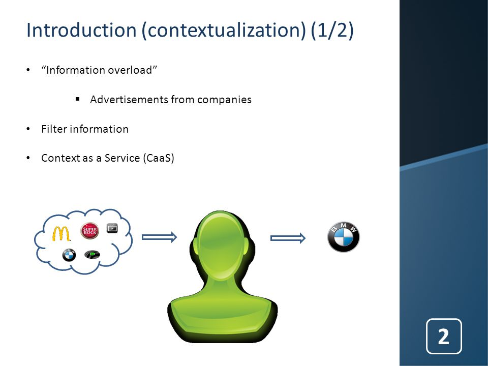 Introduction (contextualization) (1/2) Information overload  Advertisements from companies Filter information Context as a Service (CaaS) 2