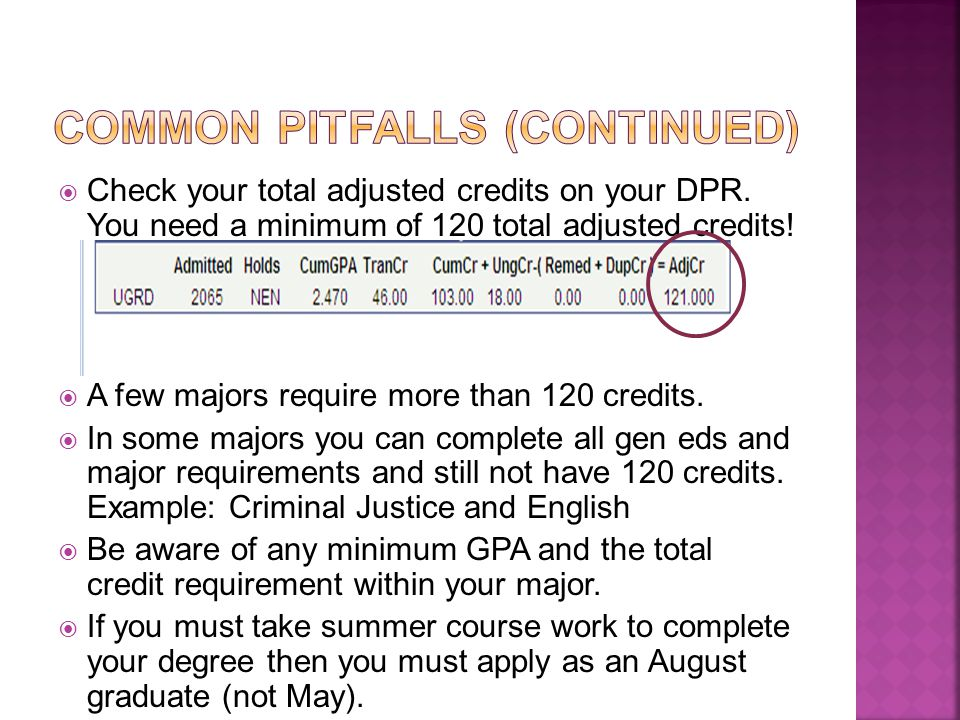  Check your total adjusted credits on your DPR. You need a minimum of 120 total adjusted credits!  A few majors require more than 120 credits.  In