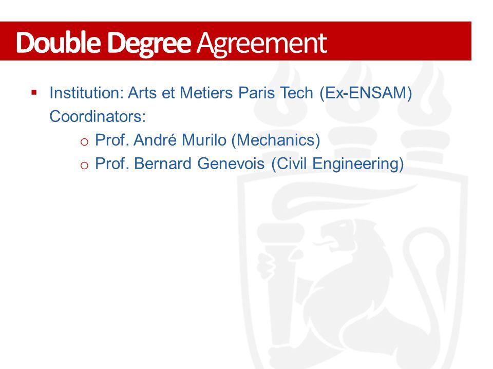  Institution: Arts et Metiers Paris Tech (Ex-ENSAM) Coordinators: o Prof.
