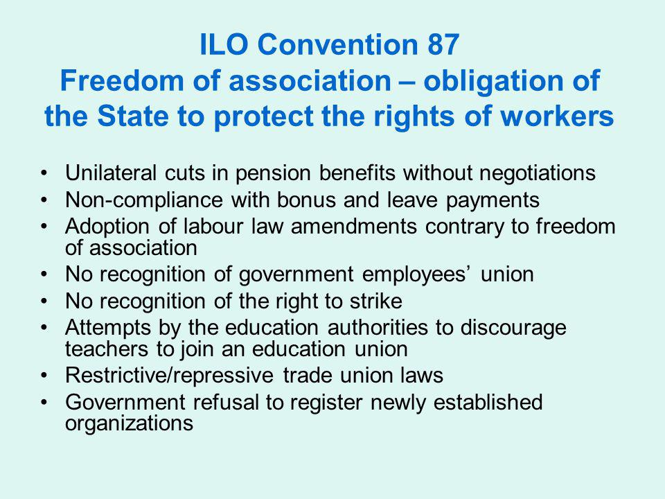 ILO Convention 87 Freedom of association – obligation of the State to protect the rights of workers Unilateral cuts in pension benefits without negoti