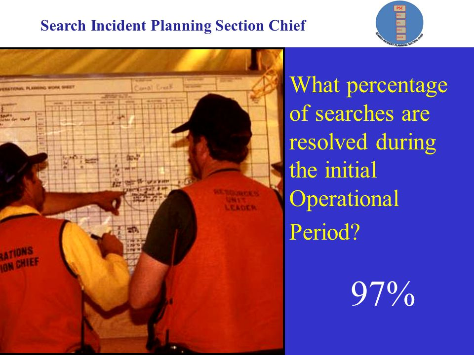 Search Incident Planning Section Chief What percentage of searches are resolved during the initial Operational Period.