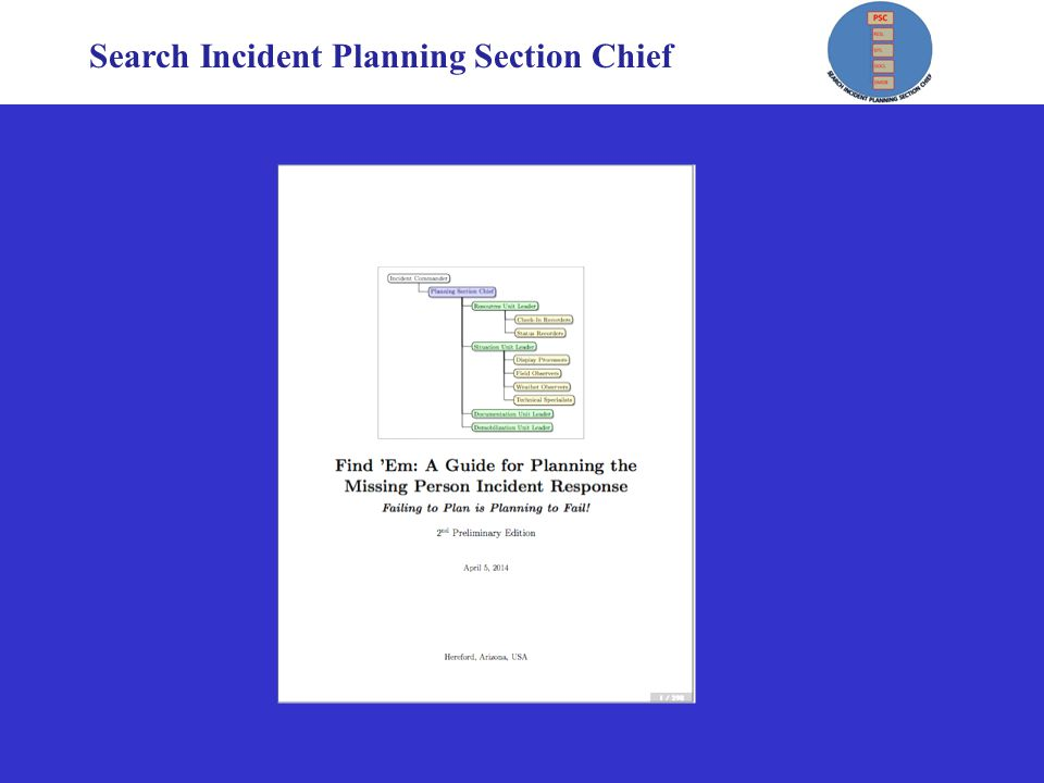 Search Incident Planning Section Chief