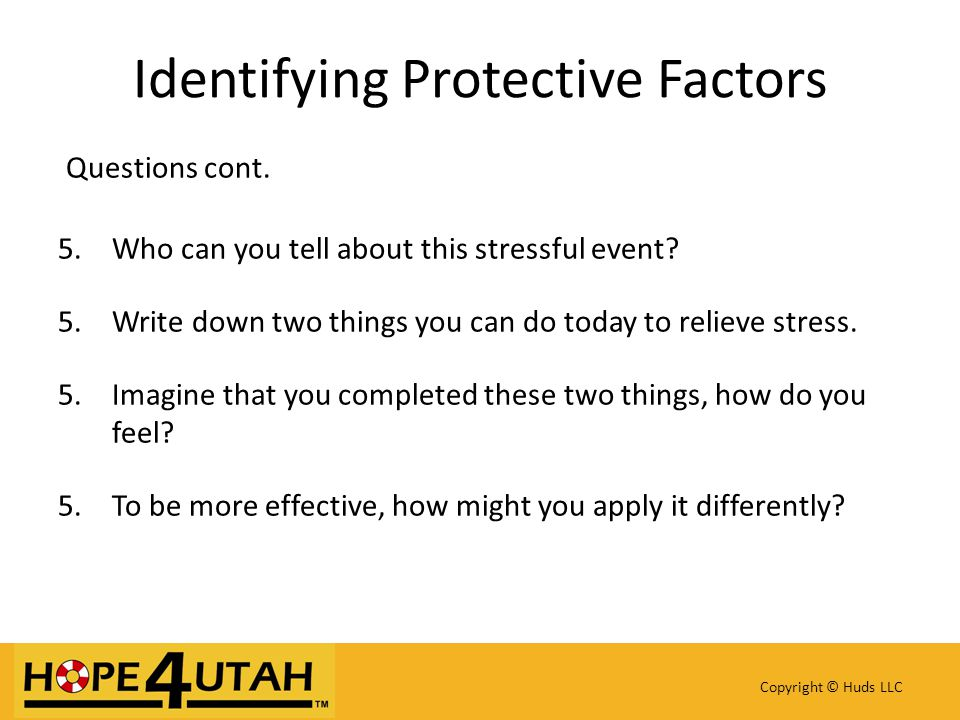 Identifying Protective Factors Questions cont. 5.Who can you tell about this stressful event.