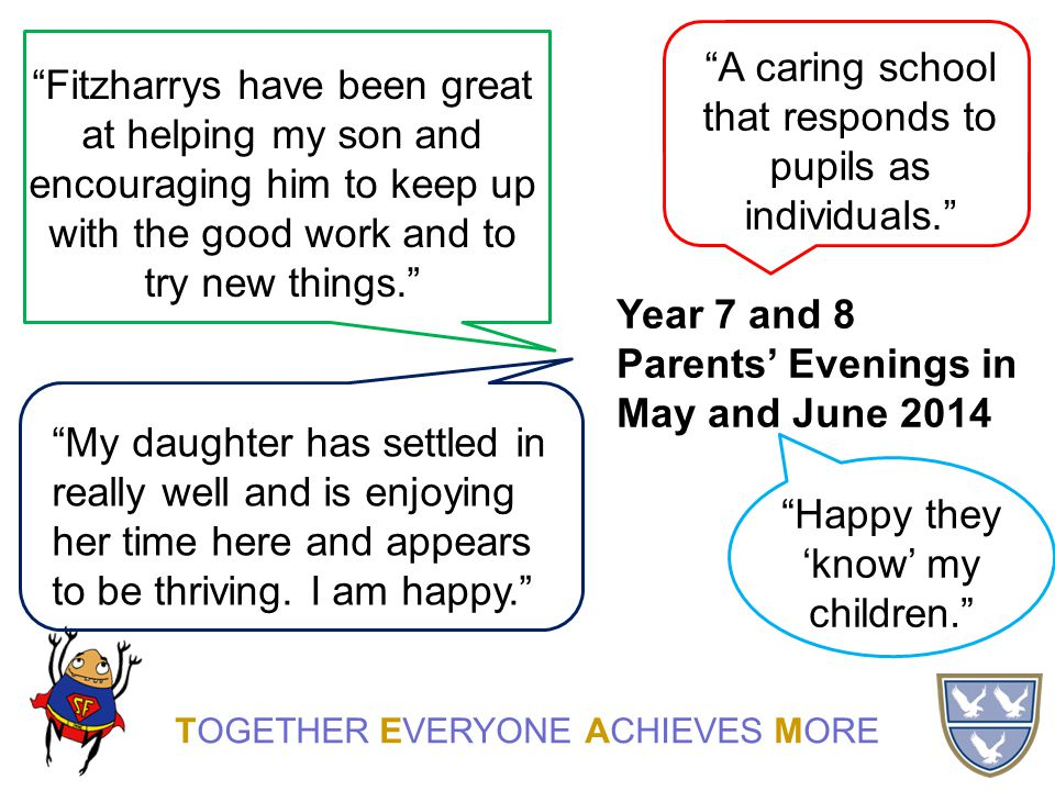TOGETHER EVERYONE ACHIEVES MORE A caring school that responds to pupils as individuals. Happy they 'know' my children. Fitzharrys have been great at helping my son and encouraging him to keep up with the good work and to try new things. My daughter has settled in really well and is enjoying her time here and appears to be thriving.