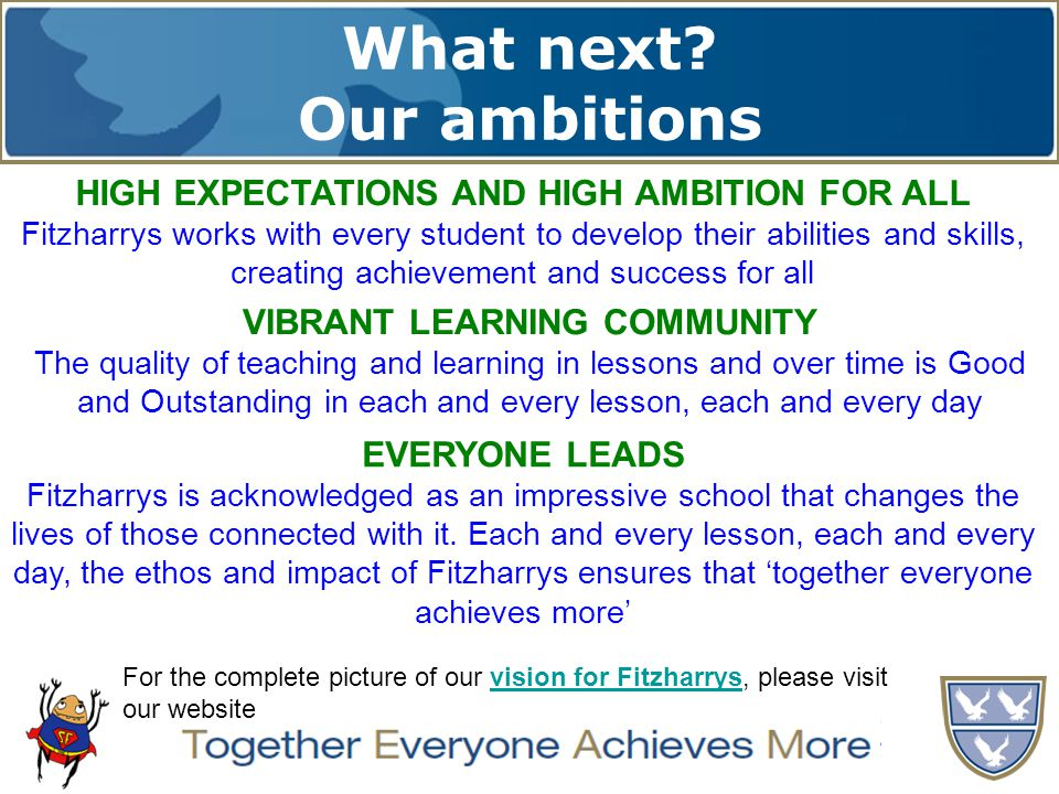 What next? Our ambitions TOGETHER EVERYONE ACHIEVES MORE HIGH EXPECTATIONS AND HIGH AMBITION FOR ALL Fitzharrys works with every student to develop th