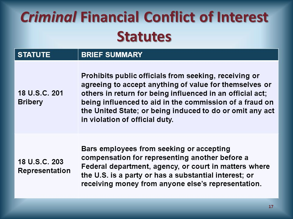 Criminal Financial Conflict of Interest Statutes STATUTEBRIEF SUMMARY 18 U.S.C. 201 Bribery Prohibits public officials from seeking, receiving or agre