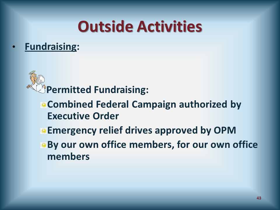 Outside Activities Fundraising: Permitted Fundraising: Combined Federal Campaign authorized by Executive Order Emergency relief drives approved by OPM
