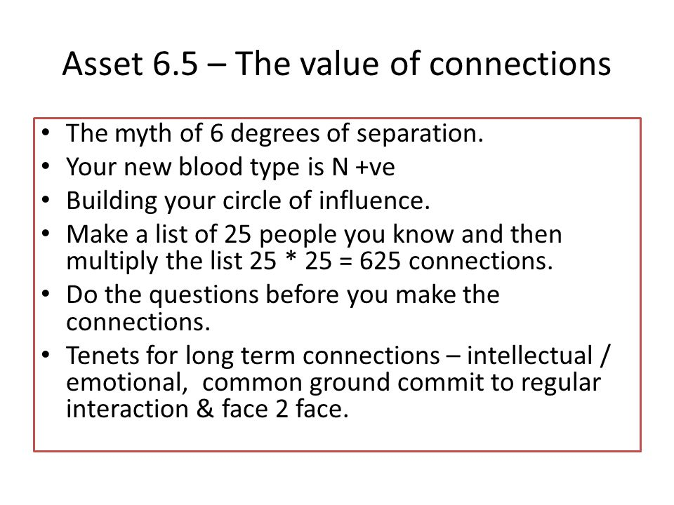 Asset 6.5 – The value of connections The myth of 6 degrees of separation.