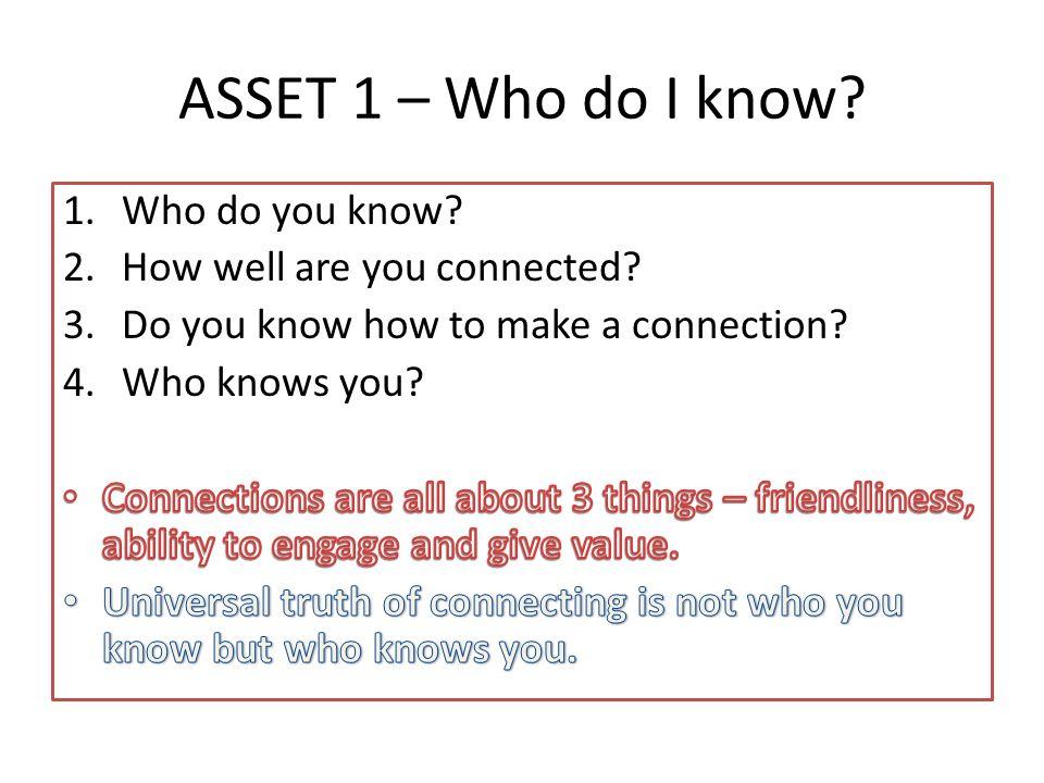 ASSET 1 – Who do I know