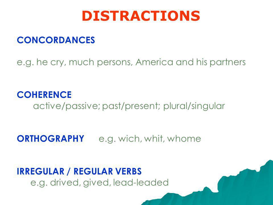 DISTRACTIONS CONCORDANCES e.g.
