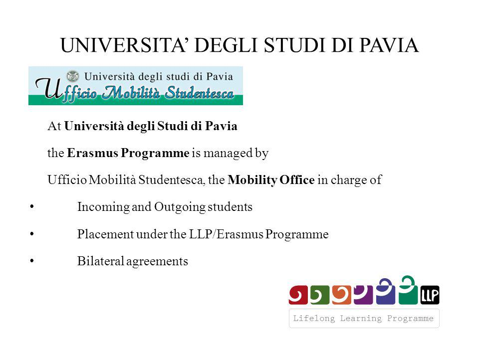 UNIVERSITA' DEGLI STUDI DI PAVIA Administrative matters are managed by Ufficio Mobilità Studentesca, which is responsible for Erasmus Application Form Students are expected to post to Ufficio Mobilità Studentesca all the necessary papers to apply as an Erasmus student Learning agreement and proposed academic activities are approved by the Faculty Coordinators Learning agreements and proposed academic activities are transmitted to Faculty Coordinators by Ufficio Mobilità Studentesca