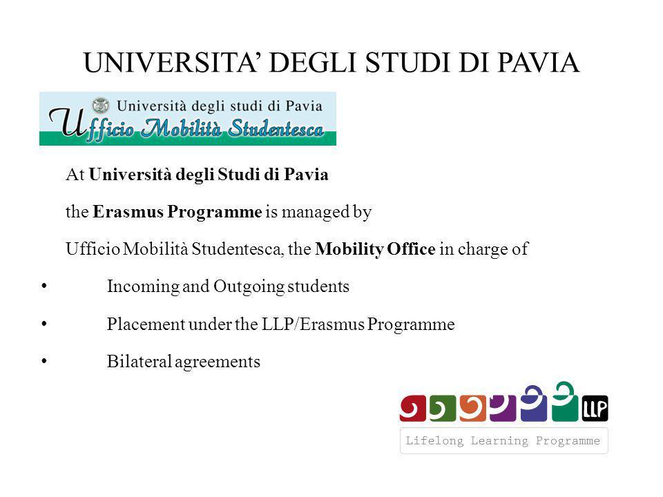 UNIVERSITA' DEGLI STUDI DI PAVIA At Università degli Studi di Pavia the Erasmus Programme is managed by Ufficio Mobilità Studentesca, the Mobility Office in charge of Incoming and Outgoing students Placement under the LLP/Erasmus Programme Bilateral agreements