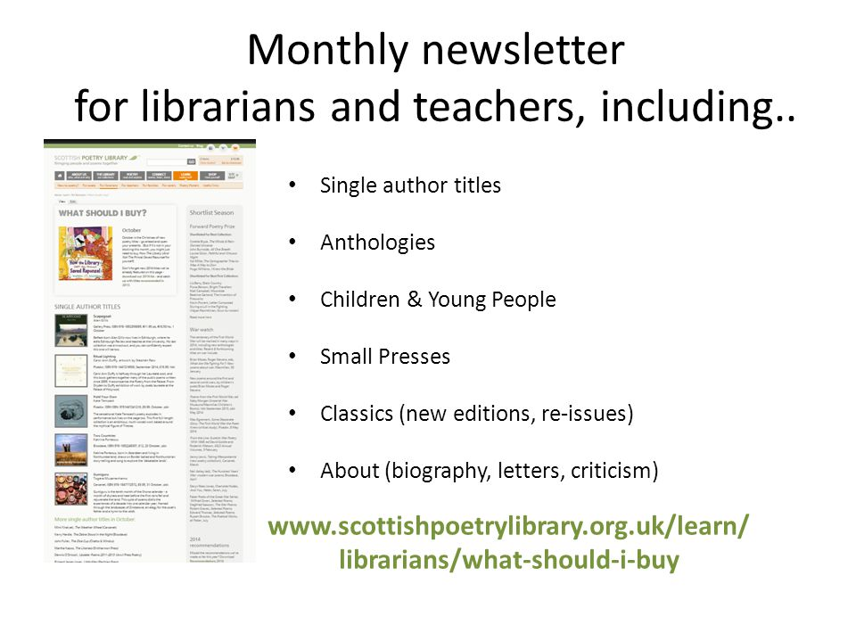 Monthly newsletter for librarians and teachers, including..