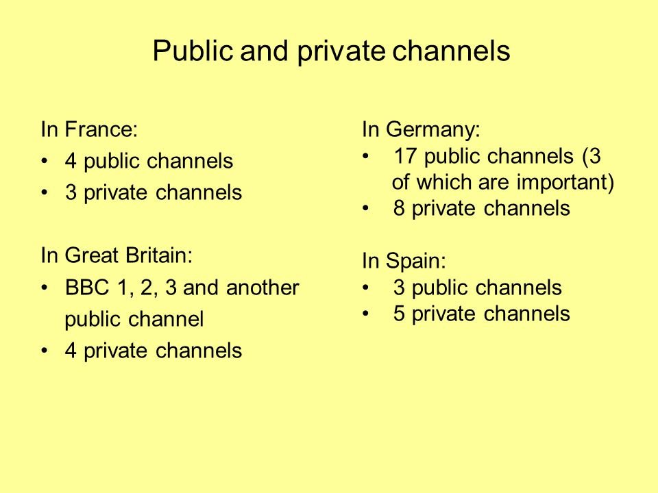 In France: 4 public channels 3 private channels In Great Britain: BBC 1, 2, 3 and another public channel 4 private channels In Germany: 17 public channels (3 of which are important) 8 private channels In Spain: 3 public channels 5 private channels Public and private channels
