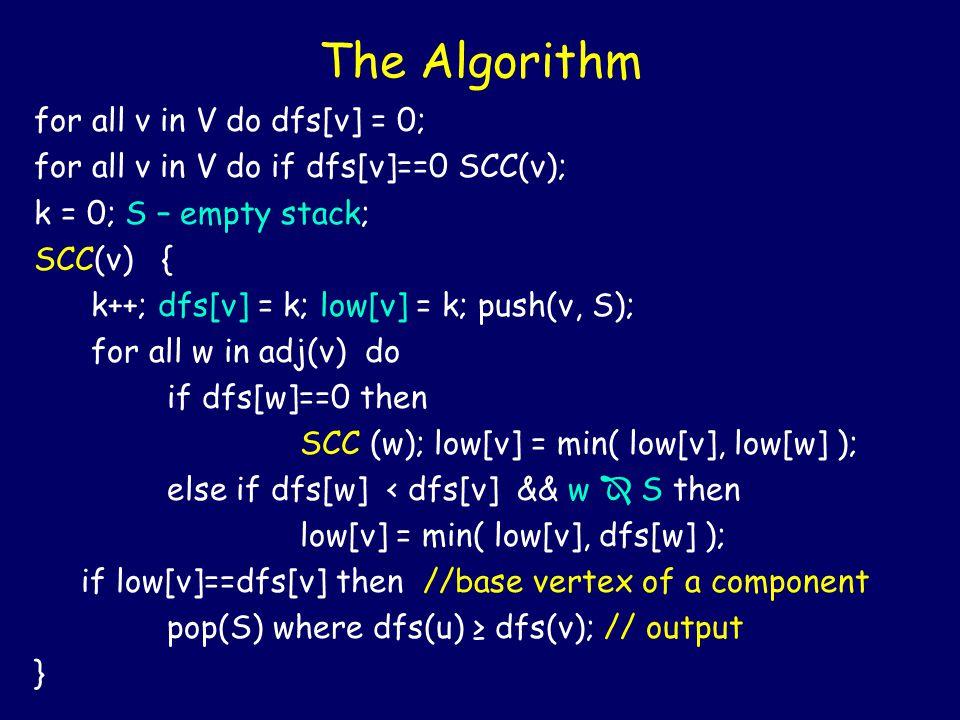 The Algorithm for all v in V do dfs[v] = 0; for all v in V do if dfs[v]==0 SCC(v); k = 0; S – empty stack; SCC(v) { k++; dfs[v] = k; low[v] = k; push(v, S); for all w in adj(v) do if dfs[w]==0 then SCC (w); low[v] = min( low[v], low[w] ); else if dfs[w] < dfs[v] && w  S then low[v] = min( low[v], dfs[w] ); if low[v]==dfs[v] then //base vertex of a component pop(S) where dfs(u) ≥ dfs(v); // output }