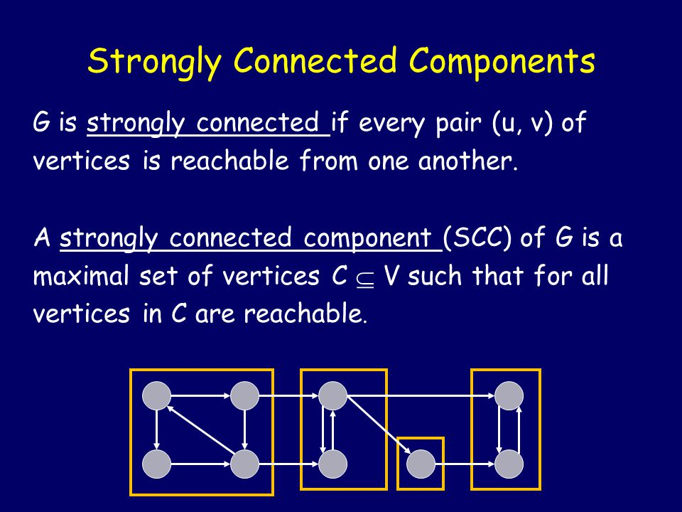 Strongly Connected Components G is strongly connected if every pair (u, v) of vertices is reachable from one another.