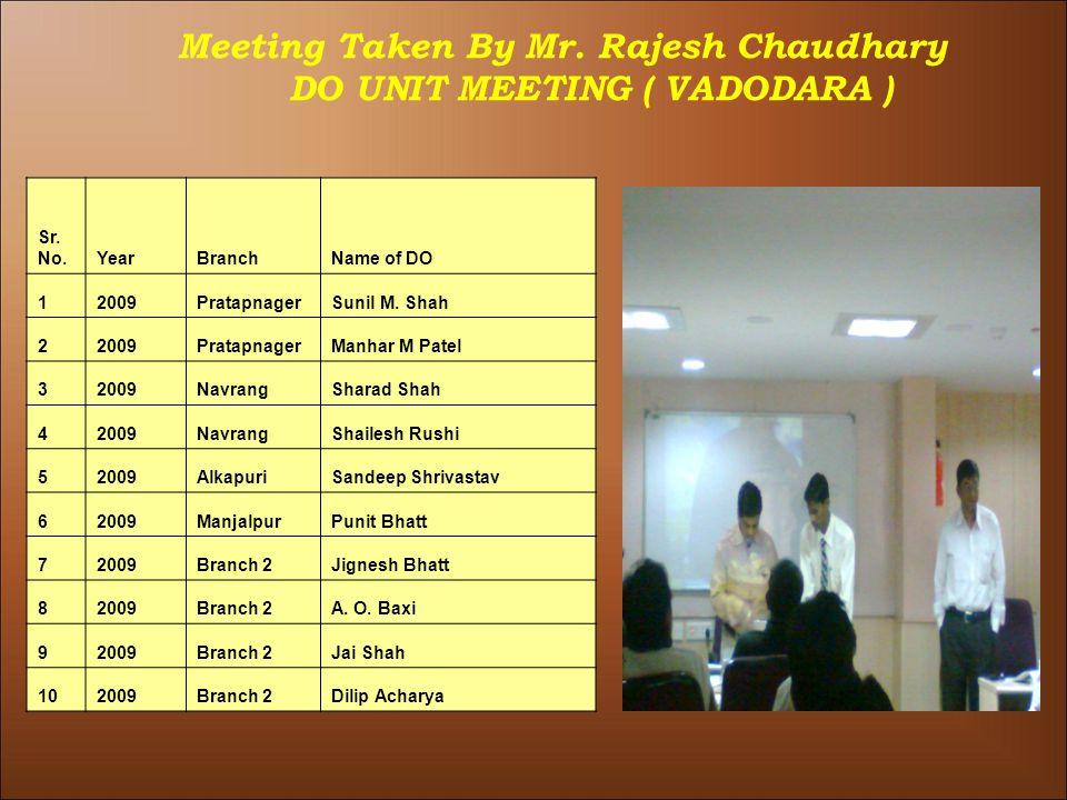 Meeting Taken By Mr. Rajesh Chaudhary DO UNIT MEETING ( VADODARA ) Sr.