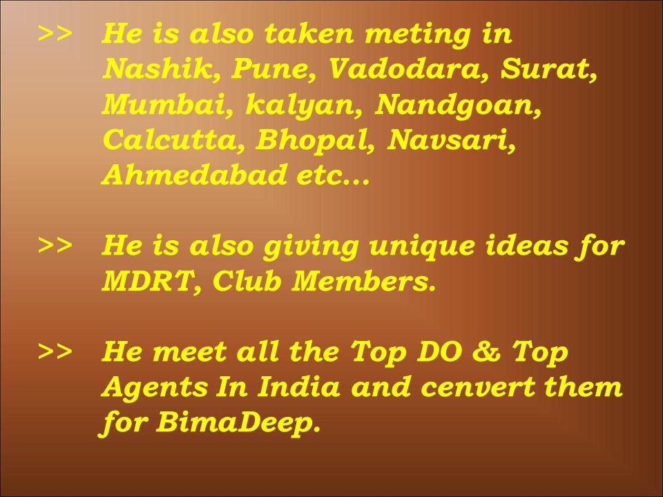 >>He is also taken meting in Nashik, Pune, Vadodara, Surat, Mumbai, kalyan, Nandgoan, Calcutta, Bhopal, Navsari, Ahmedabad etc… >>He is also giving unique ideas for MDRT, Club Members.