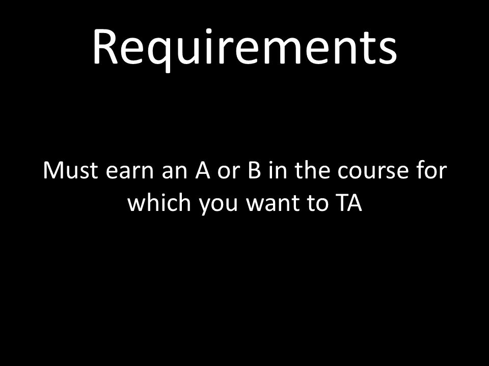 Requirements Must be in good standing
