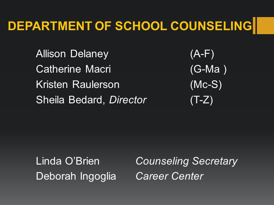 DEPARTMENT OF SCHOOL COUNSELING Allison Delaney(A-F) Catherine Macri (G-Ma ) Kristen Raulerson(Mc-S) Sheila Bedard, Director(T-Z) Linda O'BrienCounseling Secretary Deborah Ingoglia Career Center
