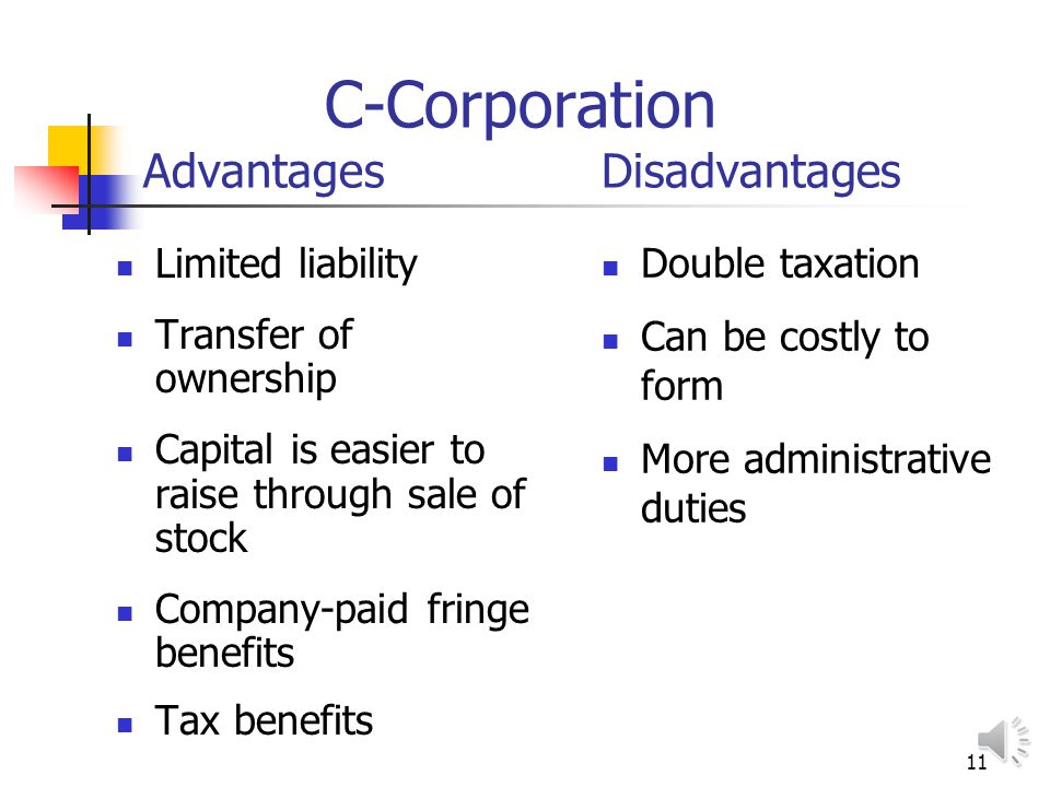 10 S-Corporation Advantages Disadvantages Limited liability Profits taxed only once Capital is easier to raise through sale of stock Transfer of owner