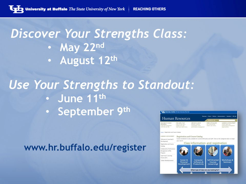 Discover Your Strengths Class: May 22 nd August 12 th Use Your Strengths to Standout: June 11 th September 9 th www.hr.buffalo.edu/register