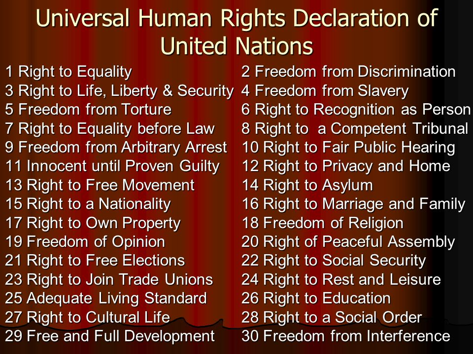 Universal Human Rights Declaration of United Nations 1 Right to Equality2 Freedom from Discrimination 3 Right to Life, Liberty & Security4 Freedom fro