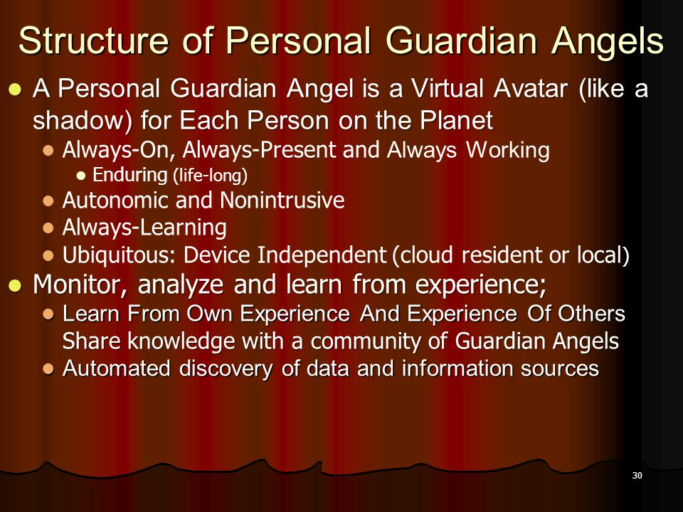 30 Structure of Personal Guardian Angels A Personal Guardian Angel is a Virtual Avatar (like a shadow) for Each Person on the Planet A Personal Guardi