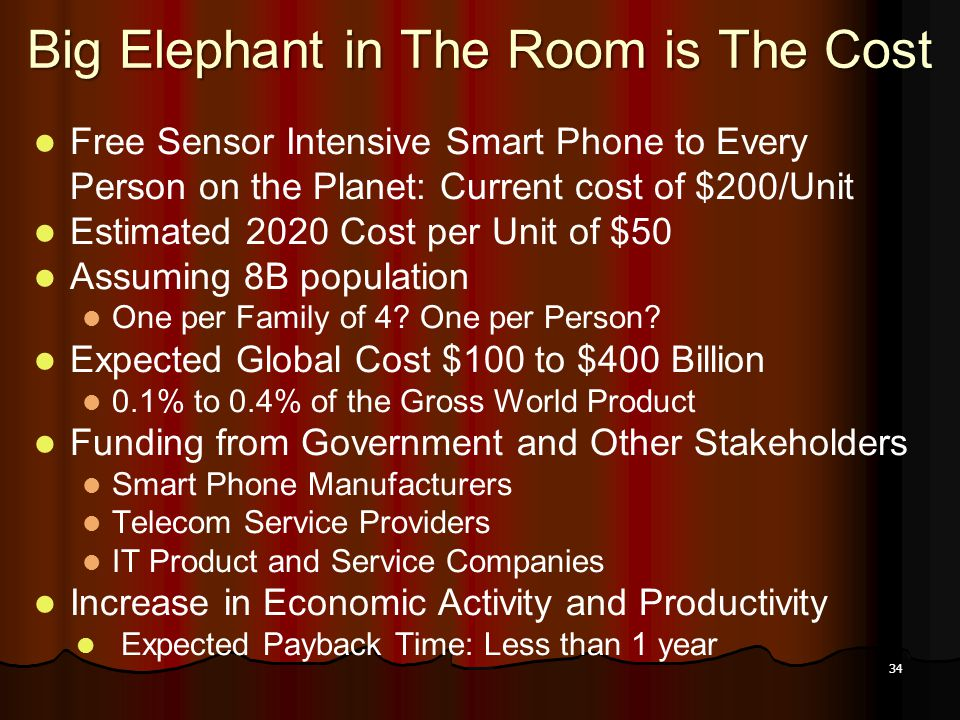 34 Big Elephant in The Room is The Cost Free Sensor Intensive Smart Phone to Every Person on the Planet: Current cost of $200/Unit Estimated 2020 Cost per Unit of $50 Assuming 8B population One per Family of 4.