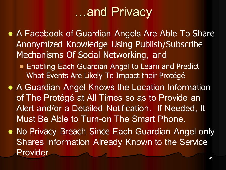 35 …and Privacy A Facebook of Guardian Angels Are Able To Share Anonymized Knowledge Using Publish/Subscribe Mechanisms Of Social Networking, and Enab