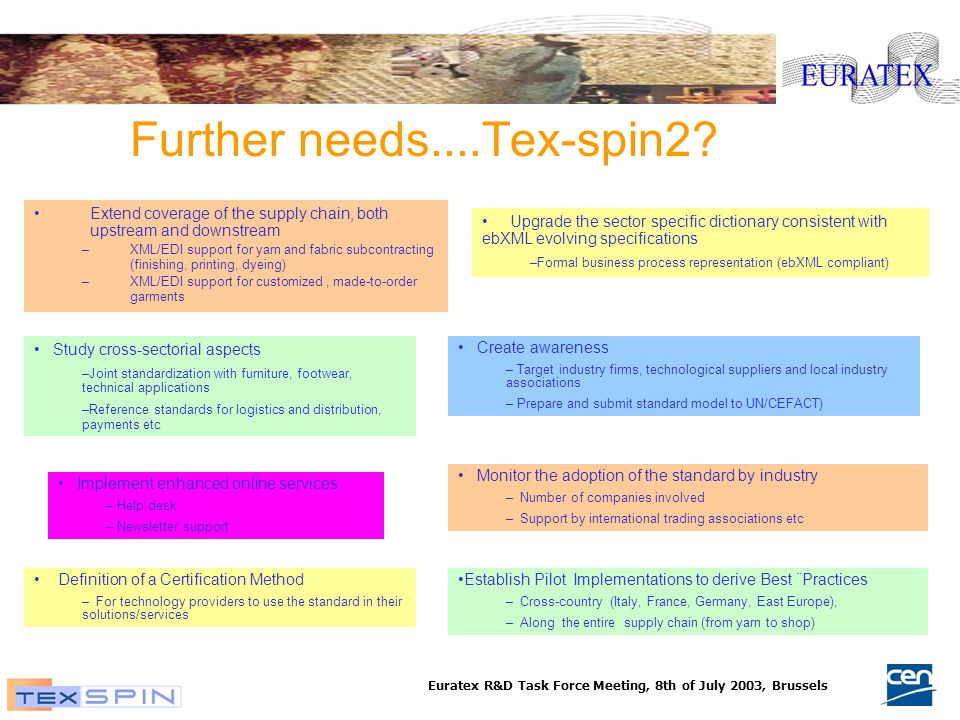 Euratex R&D Task Force Meeting, 8th of July 2003, Brussels Further needs....Tex-spin2.