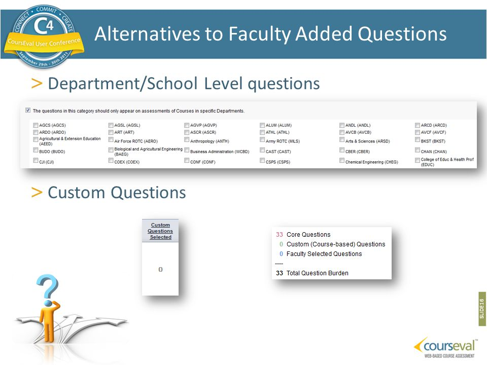 > Department/School Level questions > Custom Questions SLIDE 16 Alternatives to Faculty Added Questions