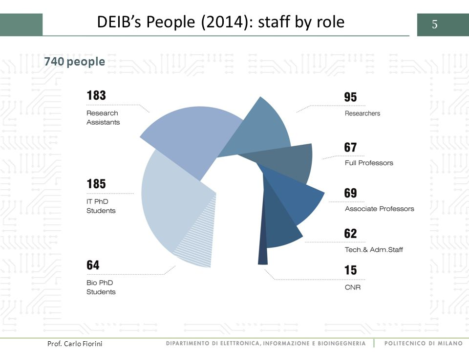 Prof. Carlo Fiorini 5 DEIB's People (2014): staff by role 740 people