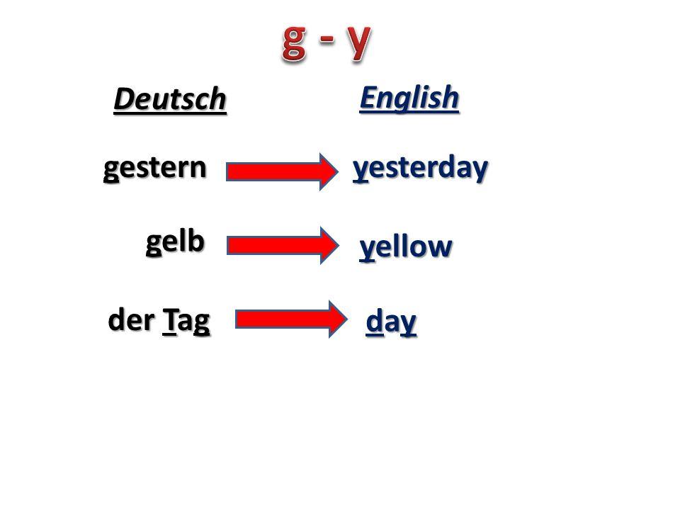 gestern yesterday Deutsch English gelb der Tag yellow daydaydayday