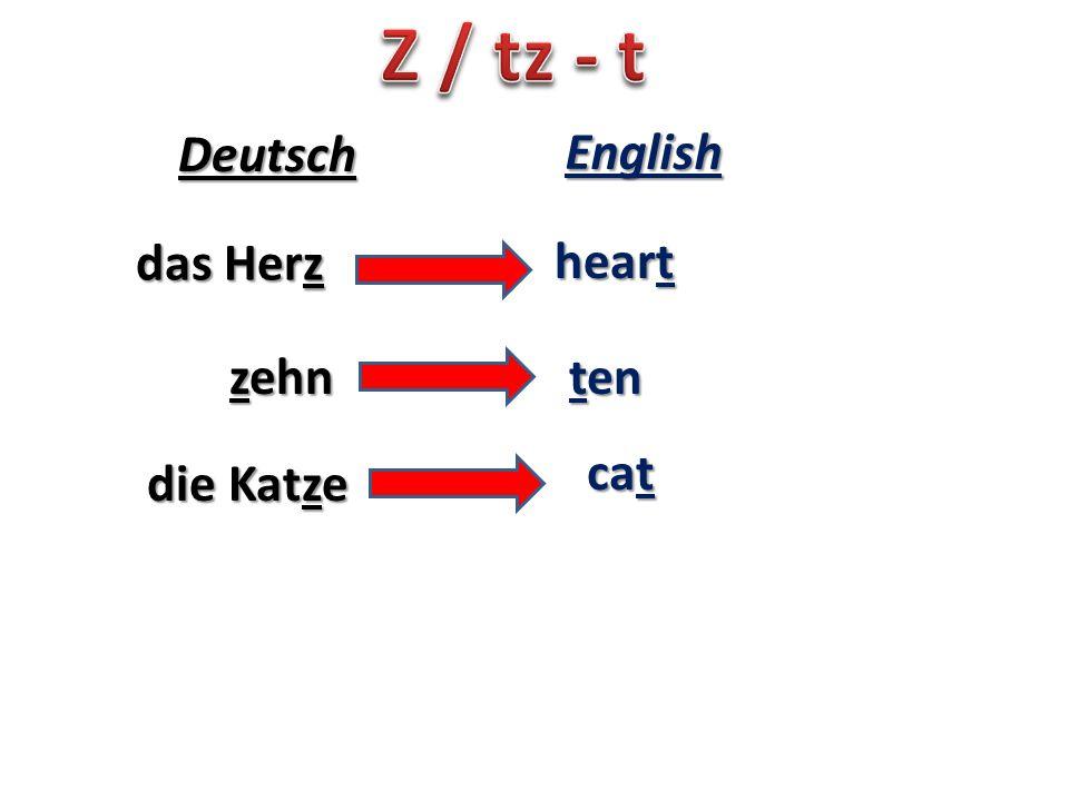 das Herz heart Deutsch English zehn ten die Katze cat