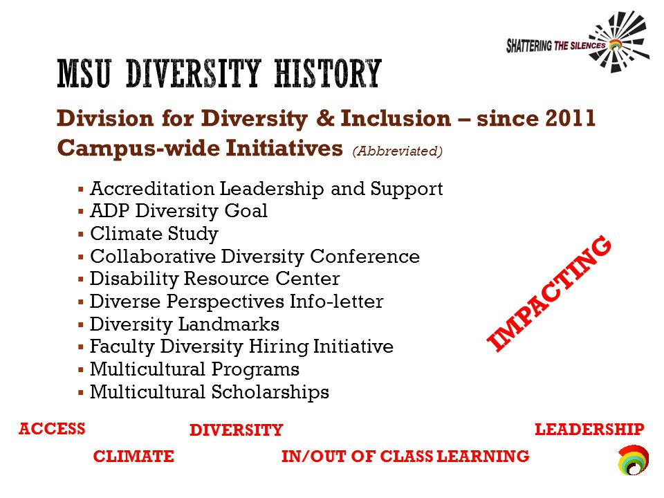 Division for Diversity & Inclusion – since 2011 Campus-wide Initiatives (Abbreviated)  Accreditation Leadership and Support  ADP Diversity Goal  Climate Study  Collaborative Diversity Conference  Disability Resource Center  Diverse Perspectives Info-letter  Diversity Landmarks  Faculty Diversity Hiring Initiative  Multicultural Programs  Multicultural Scholarships ACCESS CLIMATE DIVERSITY IN/OUT OF CLASS LEARNING LEADERSHIP I M P A C T I N G
