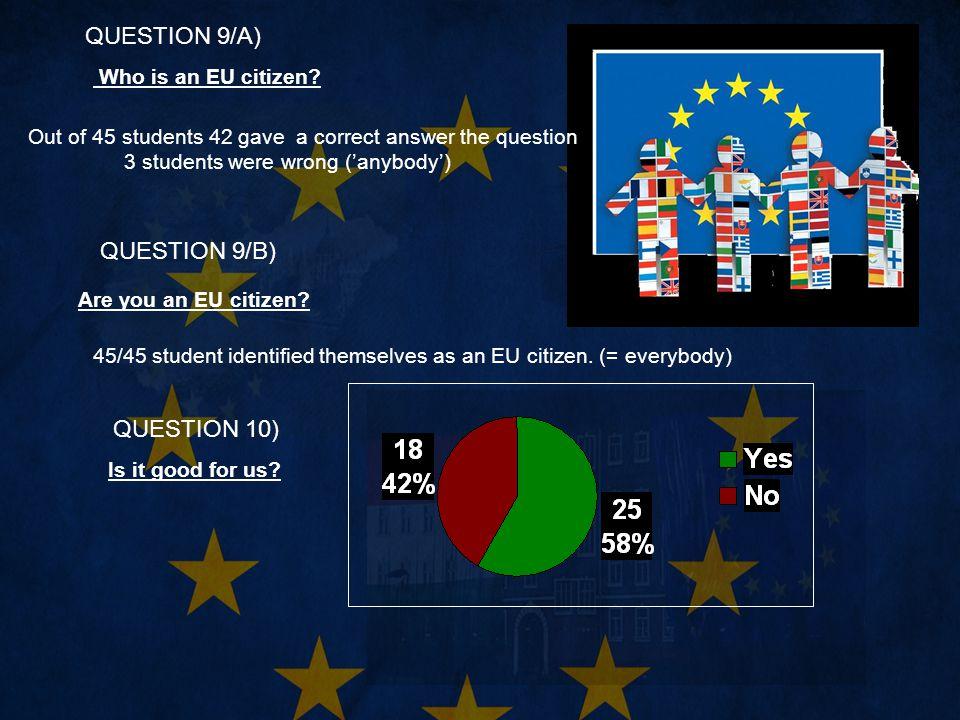 QUESTION 9/A) Who is an EU citizen.