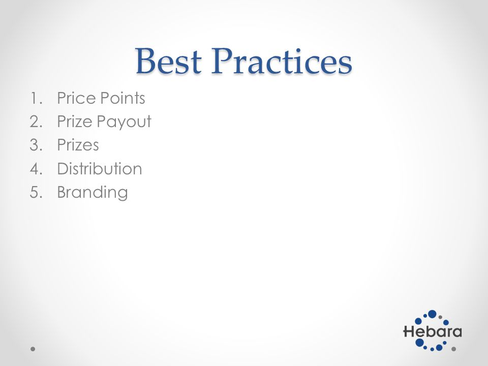 Best Practices 1.Price Points 2.Prize Payout 3.Prizes 4.Distribution 5.Branding