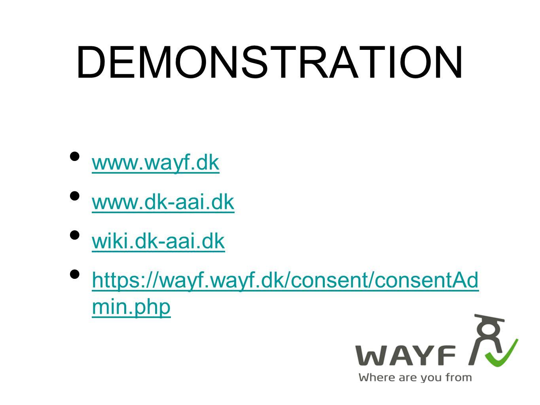 DEMONSTRATION www.wayf.dk www.dk-aai.dk wiki.dk-aai.dk https://wayf.wayf.dk/consent/consentAd min.php https://wayf.wayf.dk/consent/consentAd min.php