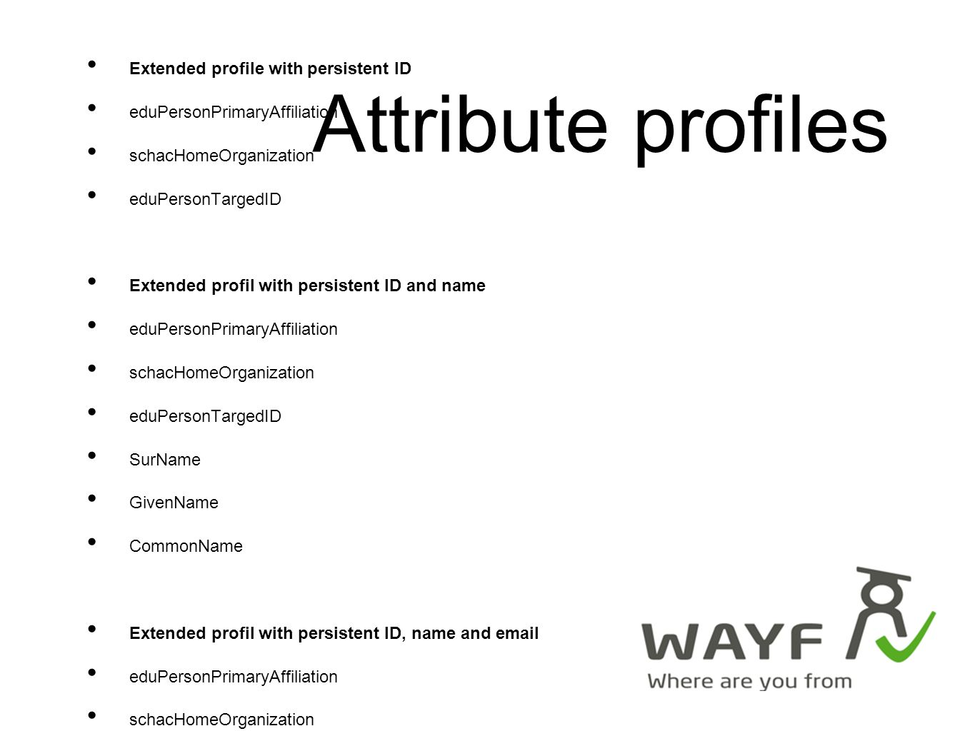 WAYF is live as of 28th of March 2008 All central services running WAYF, consent, consent-admin Central federating component (CFC): simpleSAMLphp Contract draft (turned down yesterday) websites open (Danish only so far) Production evironment + QA Press release to come (with ministers)