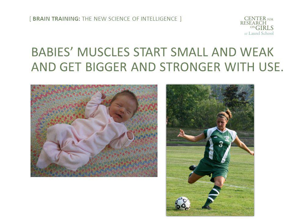 BABIES' MUSCLES START SMALL AND WEAK AND GET BIGGER AND STRONGER WITH USE.