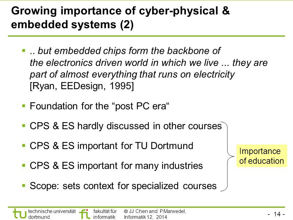 - 14 - technische universität dortmund fakultät für informatik  JJ Chen and P.Marwedel, Informatik 12, 2014 Growing importance of cyber-physical & embedded systems (2) ..