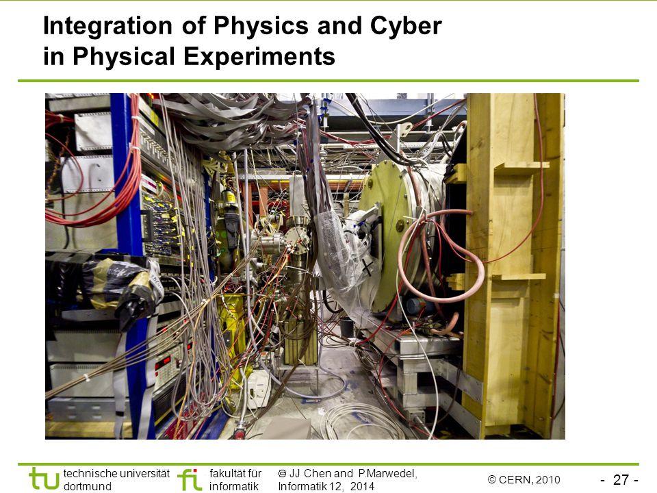 - 27 - technische universität dortmund fakultät für informatik  JJ Chen and P.Marwedel, Informatik 12, 2014 Integration of Physics and Cyber in Physical Experiments © CERN, 2010
