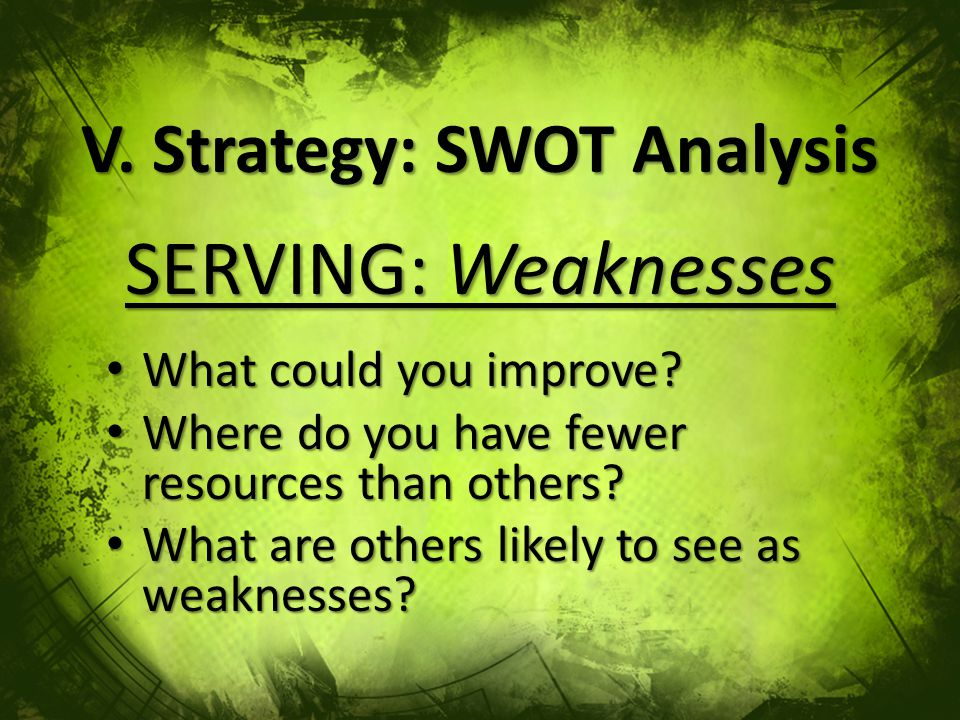 V. Strategy: SWOT Analysis SERVING: Weaknesses What could you improve.