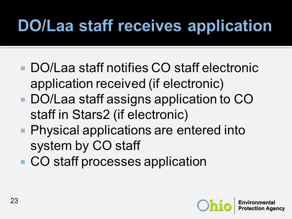  DO/Laa staff notifies CO staff electronic application received (if electronic)  DO/Laa staff assigns application to CO staff in Stars2 (if electronic)  Physical applications are entered into system by CO staff  CO staff processes application 23